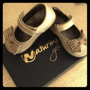 Naturino Glitter Gold Toddler Girl Mary Janes